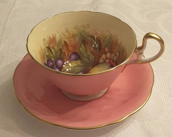 Aynsley Tea Cup and Saucer; Athens shaped; Pink; Hand Painted; Signed by D Jones circa 1930's    DR