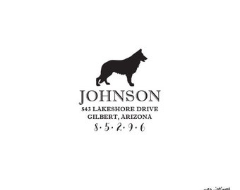 Dog Personalized Custom Return Address Rubber Stamp or Self Inking German Shepherd