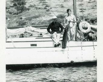 "Vintage Photo ""Homeward Bound"" Sailboat Boat Sailing Snapshot Antique Photo Black & White Photograph Found Paper Ephemera Vernacular - 118"
