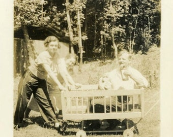 "Vintage Photo ""Crib on Wheels"" Children Play Pen Baby Snapshot Photo Antique Black & White Photograph Found Paper Ephemera Vernacular - 157"