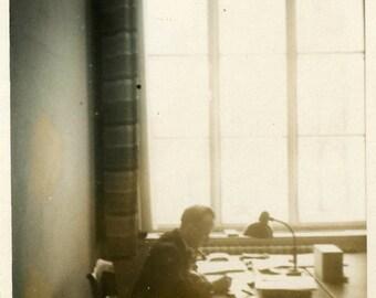 "Vintage Photo ""Overtime"" Snapshot Photo Old Antique Photo Black & White Photograph Found Photo Paper Ephemera Vernacular - 138"