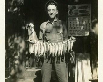 "Vintage Photo ""The Mini Shark Catcher"" Snapshot Photo Old Antique Photo Black & White Photograph Found Photo Paper Ephemera Vernacular - 154"