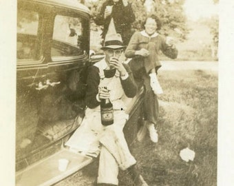 "Vintage Photo ""Party Wagon of Madison County"" Drinking Snapshot Antique Photo Black & White Photograph Found Paper Ephemera Vernacular - 43"
