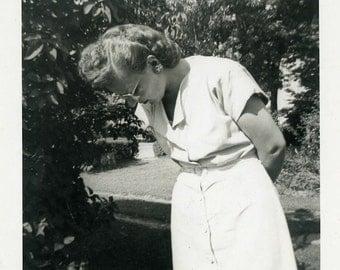 "Vintage Photo ""Please...No More Pictures"" Woman Odd Snapshot Antique Photo Black & White Photograph Found Paper Ephemera Vernacular - 179"