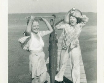 "Vintage Photo ""Wow...That's a BIG Fish"" Fishing Snapshot Old Antique Photo Black & White Photograph Found Paper Ephemera Vernacular - 66"