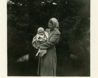 "Vintage Photo ""Mama's Little Lamb"" Mom Holding Baby Snapshot Photo Old Photo Black & White Photograph Found Paper Ephemera Vernacular - 36"