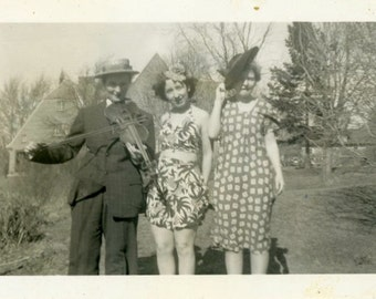 "Vintage Photo ""The Trio of Oddness"" Girl in Costume Snapshot Photo Old Photo Black & White Photograph Found Paper Ephemera Vernacular - 119"
