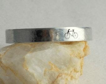 Bicycle Cuff Bracelet, hand stamped aluminum silver adjustable bangle bike biking stacking birthday graduation women unisex men gift for her