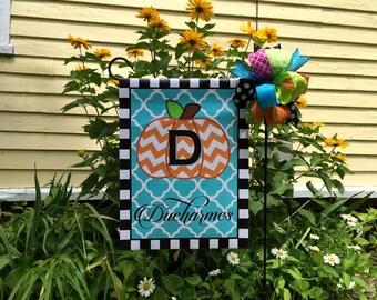Pumpkin Personalized Monogram Garden Flag Family  Fall Autumn Name Custom Flag