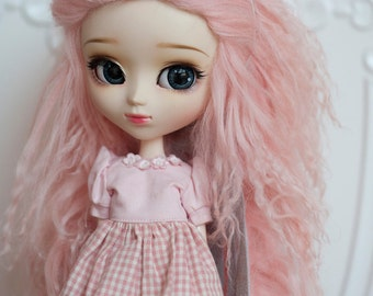 "10in"" Long Light Pink Tibetan Mohair Wavy Wig for Volks BJD SD and Pullip Dolls"