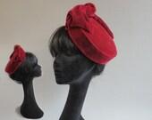 Vintage inspired but brand new deep bordeau red velvet pill box hat on comb