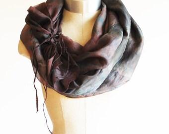 oversized shibori silk scarf, hand printed shawl, 88editions goth scarves