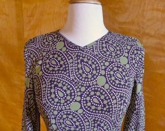 Vintage Flirty Purple and Sage Green Paisley Rayon Minidress Small Size