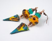 Statement Earrings, Turquoise and Yellow Enamel Charm Earrings, Handcrafted Lampwork and Enameled Charms, Artisan Earrings, Blue and Gold
