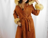70s Hooded Leather And Lambs Wool Coat / Suede And Sherpa Princess Coat