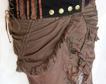 Long Adjustable Frilly Bustle Skirt Wrap w Chains - Steampunk, Elven, Gypsy, Festival Clothing
