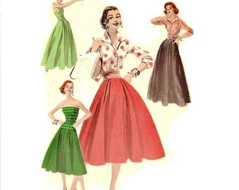 1950s Misses Skirt and Blouse Pattern, Flared Skirt, Pointed Collar, V Neckline, FF, Bust 36, Size 18, Butterick 7723 Vintage Sewing Pattern