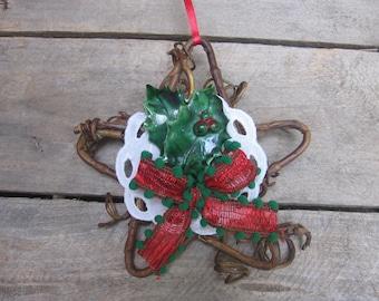 Grapevine Star Christmas Ornament, Star Ornament, Retro Ornament, Country Christmas, Tree Decor, Holiday Star, Red Green