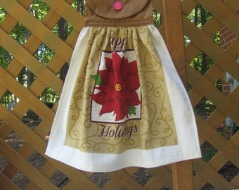 """Poinsettia Kitchen Tea Towel, Hanging Dish Towel, Brown Kitchen Decor, """"Happy Holidays"""", Oven Towel, Kitchen Towel, Saying SnowNoseCrafts"""