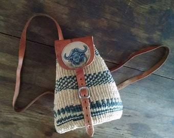 Unique Mini Backpack Hand Painted Bull Leather and Woven Sisal Mini Bag Festival Boho Hippie