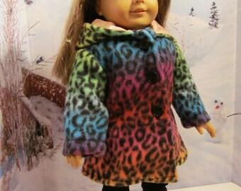 Doll Coat, Hooded Parka, Fleece  Coat,   Winter Coat, 18 inch Doll Clothes