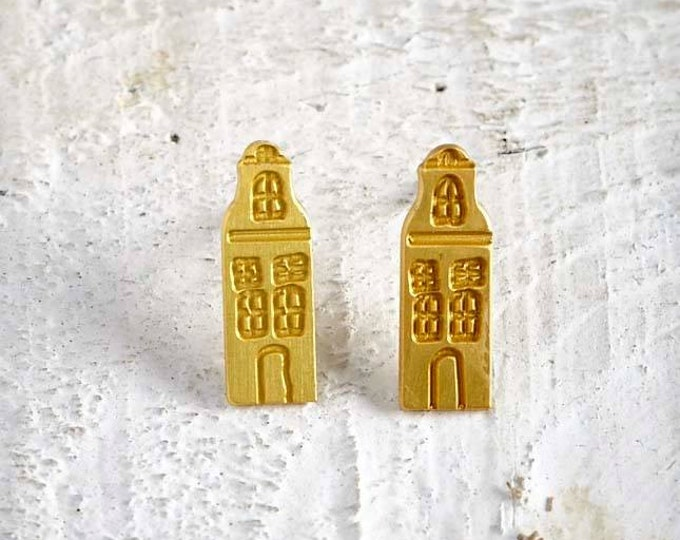 Amsterdam Houses Gold plated bronze stud Earrings silver earrings famous Architectural Buildings European Capitals Paris travel world