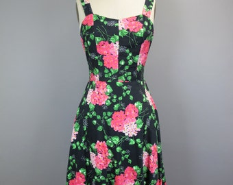 1950s Cotton Floral Sun Dress