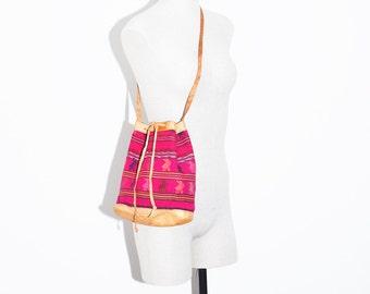 Ethnic Ethnic Textile Bag, Leather and Textile Bucket Bag