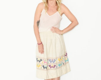 Vintage Ethnic Embroidered Skirt , Midi Skirt