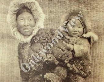 Nunivak Woman & Child Print by Edward S. Curtis, Eskimos, Native American Indian Woman, Baby, 14x17 Sepia Bookplate Art, FREE SHIPPING