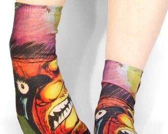 monster ankle socks / horror art socks / horror patch / comic book socks / monster socks / creatures clothing / pastel grunge / creepy