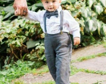 Linen Ring Bearer 4 Piece Set, Ring Bearer Bowtie, Suspenders, Pant and Newsboy hat. Wedding Outfit for Ringbearer