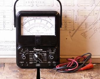 Vintage Simpson Volt Ohm Milliammeter - VOM Electric Current Tester - Great Guy Gift!