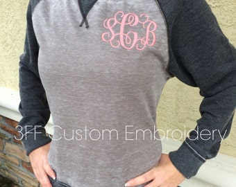 Personalized Ladies' Zen Fleece Raglan Sleeve Crewneck Sweatshirt  Embroidered Monogram Included