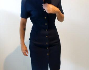 Vintage 1980s navy button down power fitted dress, gold buttons, nehru collar,  sz 8AUS