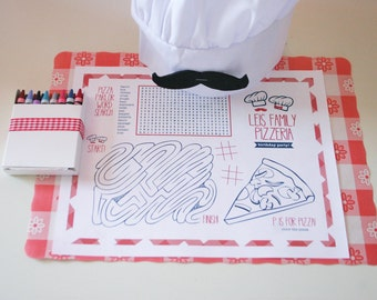 Editable Pizza Party ACTIVITY PLACE MAT - Instant Download