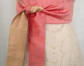 Rose Pink and Gold Silk Shantung Reversible Obi Sash