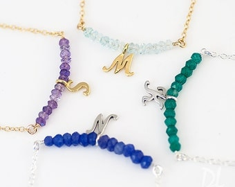 Customized Initial Birthstone Bar Necklace - Personalized Necklace - Stone Bar Necklace - Birthstone Jewelry - Layering Necklace - Choker