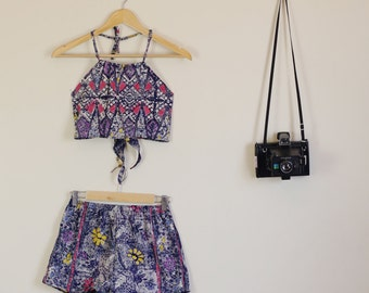 Wax Tie Dye Floral Print Twin Set Shorts and Halter Crop Summer Slumber Party Lolita Matching Set 60s 90s Star Planets
