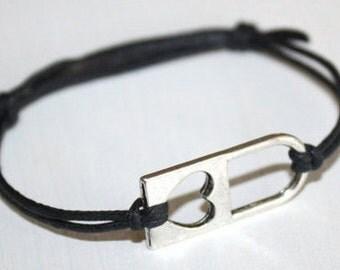 Heart Lock Bracelet or Anklet in Silver, Heart Bracelet, Padlock Bracelet, Silver Bracelet, BFF Gift, Friendship Gift, Couples Jewelry