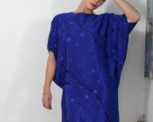Big Wave - Bright Blue Printed Batwing Slouch Dress with Fitted Hip Womens Size Small/Medium