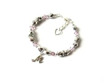Personalized Bracelet for Kids, June Birthstone Bracelet, Initial Bracelet, Little Girls Jewelry Gift, Toddler Bracelet, Letter Bracelet