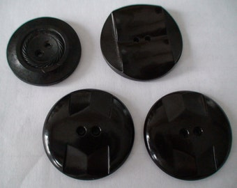 """Art Deco 1 1/4"""" and 1""""  Dark Brown Round Two-Hole Dress or Coat Buttons"""