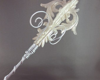 Silver Damask Sceptre - Princess Wand Princess Scepter Ice Queen Wand Ice Queen Scepter Glinda Wand Made to Order