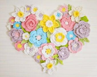 Crochet pattern Flower Heart wall decor, Spring, Easter, Valentine's day home decoration, 7 crochet ornaments,  DIY photo tutorial