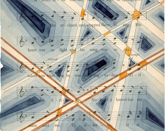 Original watercolor & pen artwork on antique sheet music geometric modern art wall decor blue orange grey beige black