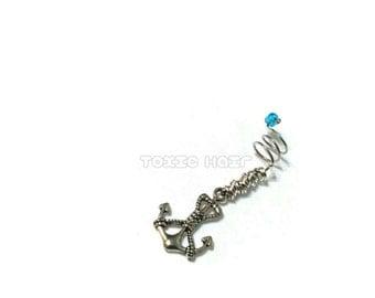 Anchor dreadlock charm, spiral dread bead, sister locs, dreadlock, locs