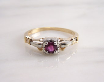 Antique Art Deco Ruby Engagement Ring 14k Yellow White Gold Two Tone