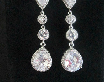 Statement Bridal Earrings,Earrings ,Long Bridal Earrings Chandelier Earrings ,Wedding Earrings ,Cubic Zirconia Earrings, Clear CZ Stud Post