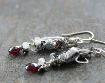 Garnet, moonstone, black spinel and silk ribbon earrings